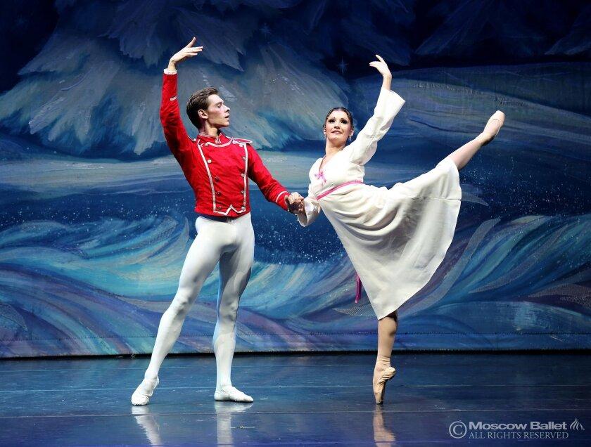 "Olga Kifyak as Masha, alongside Viktor Shcerbakov as her Nutcracker Prince in the Moscow Ballet's ""Great Russian Nutcracker."""