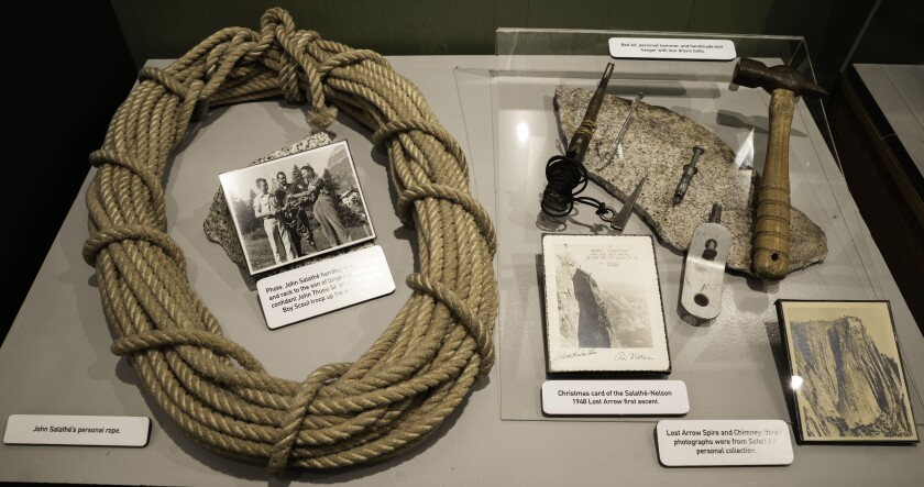 Rope and other gear in a museum case.