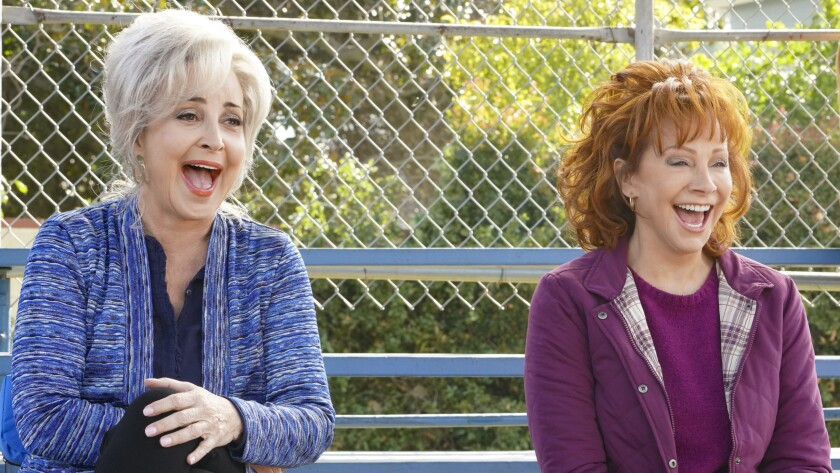 "Annie Potts, left, and guest star Reba McEntire in a new episode of ""Young Sheldon"" on CBS."