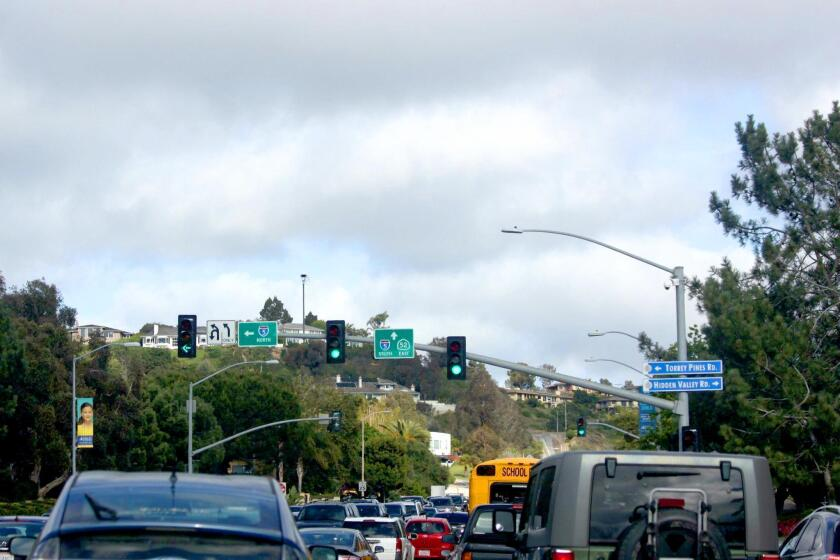 Commuters often face heavy traffic entering or leaving the Village via its main thoroughfares, La Jolla Parkway and Torrey Pines Road.