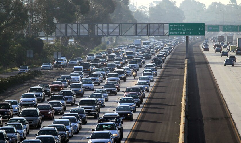 Traffic on northbound 805 at Clairemont Mesa Blvd illustrates the role of vehicle pollution in San Diego. New federal rules would tighten ozone standards.