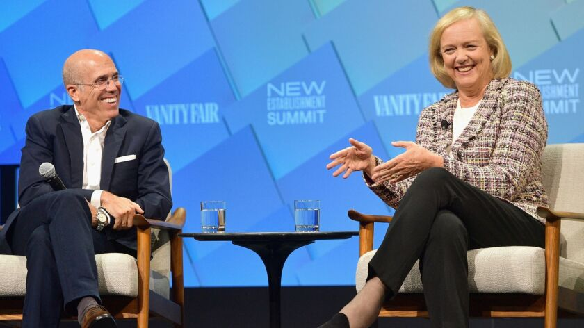 Founder and chairman of NewTV, Jeffrey Katzenberg, and CEO of NewTV, Meg Whitman, onstage at Day 2 of the Vanity Fair New Establishment Summit 2018 in Beverly Hills.