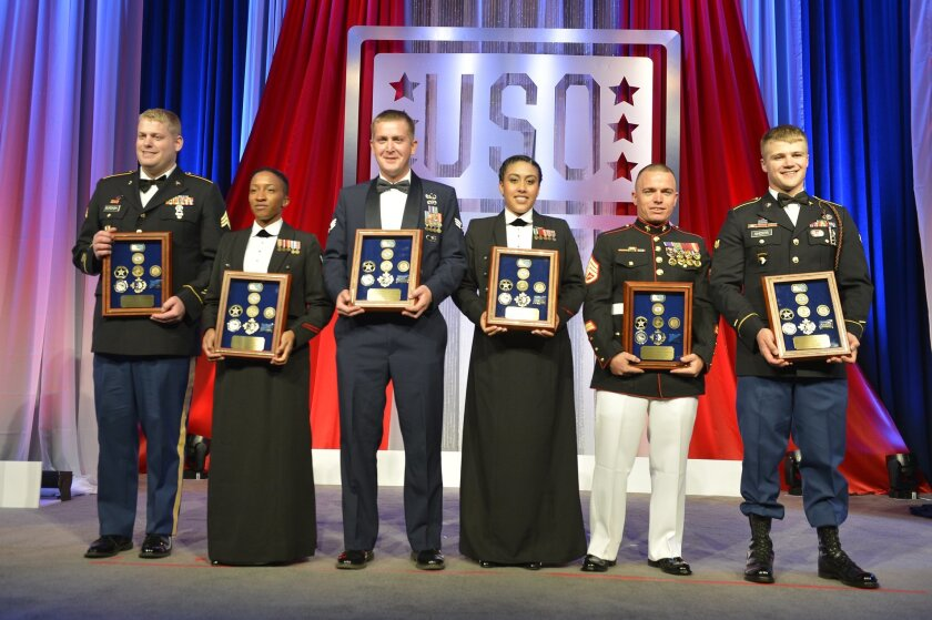 Staff Sgt. Joseph Bednarik, second from right, was named the USO Marine of the Year during a gala Tuesday in Washington, D.C. / photo by Sgt. Gabriela Garcia, Marine Corps