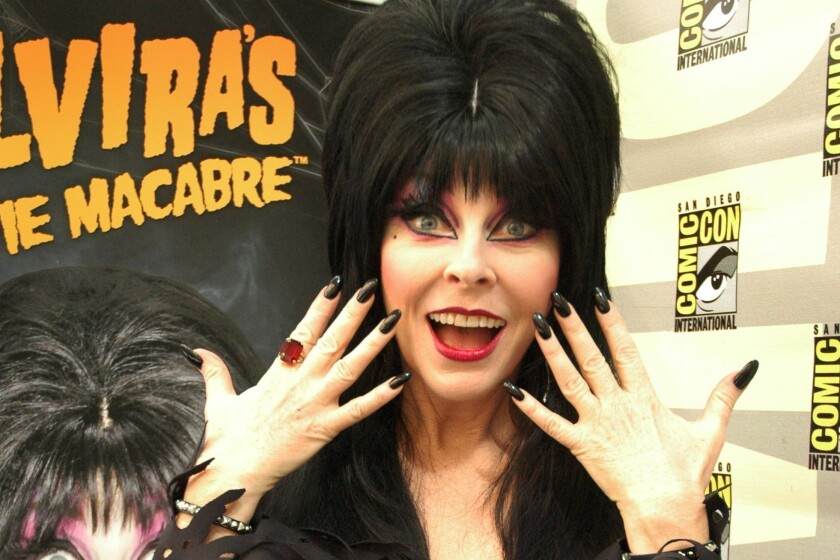 "Elvira, the ""Mistress of the Dark,"" seen here at Comic-Con."