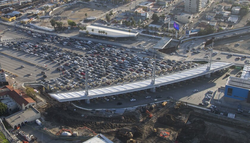 An aerial photo of U.S. and Mexico border at the San Ysidro port of entry.