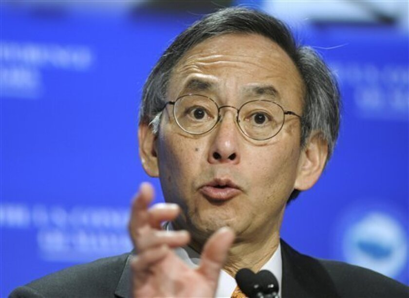 FILE - In this Jan. 20, 2010 file photo, Energy Secretary Steven Chu addresses the U.S. Conference of Mayors winter meeting in Washington. In an effort to win over Republicans and moderate Democrats on climate and energy legislation, President Barack Obama is endorsing nuclear energy like never before, calling for a new generation of nuclear power plants to be built around the country. (AP Photo/Cliff Owen, File)