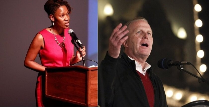 San Diego school board member Marne Foster and San Diego Mayor Kevin Faulconer