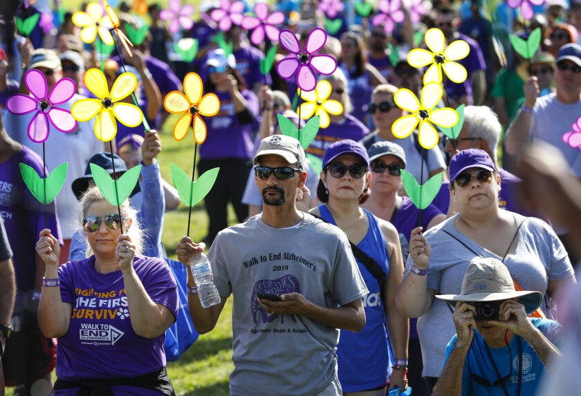A group of people hold fake flowers during the 2019 Walk to End Alzheimer's.