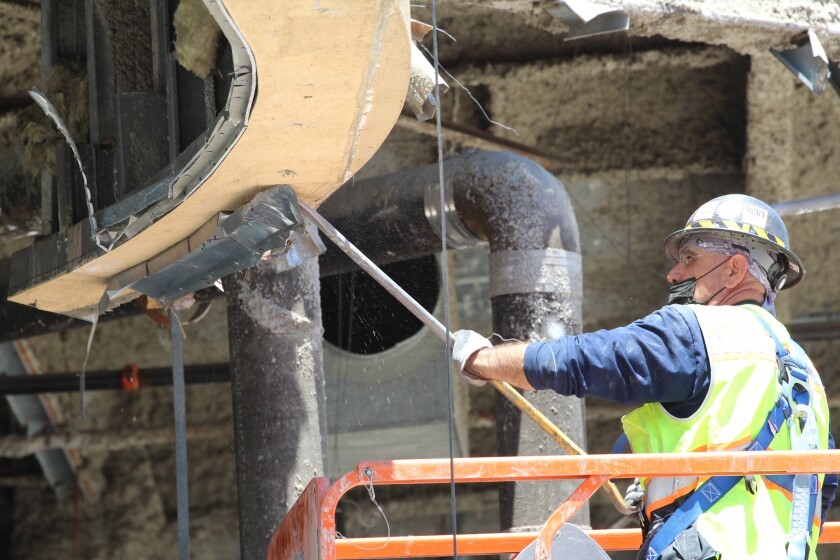 Demolition work is under way for the massive remodel of Horton Plaza.
