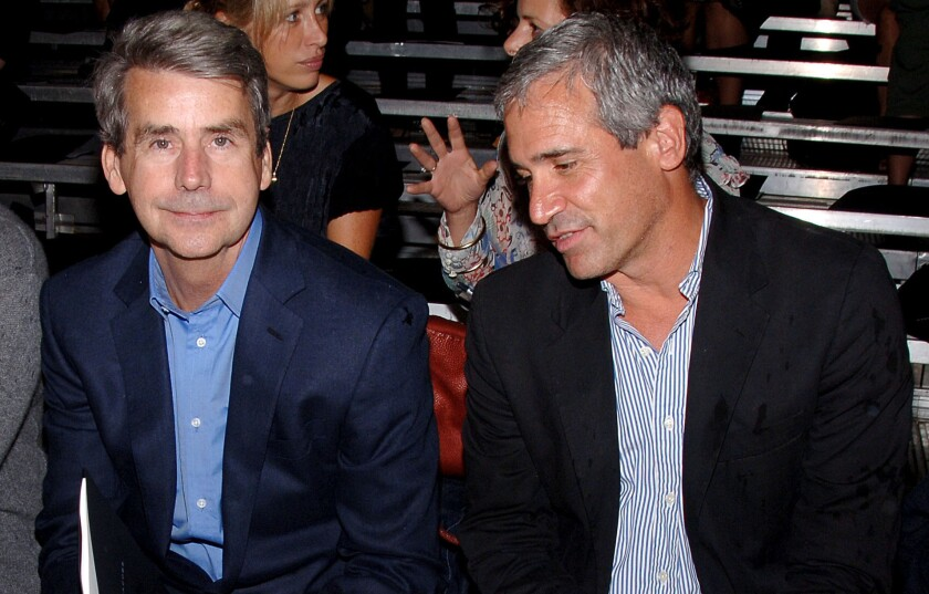 Former Women's Wear Daily editor Patrick McCarthy, left, at the Marc By Marc Jacobs fashion show in New York in 2007.