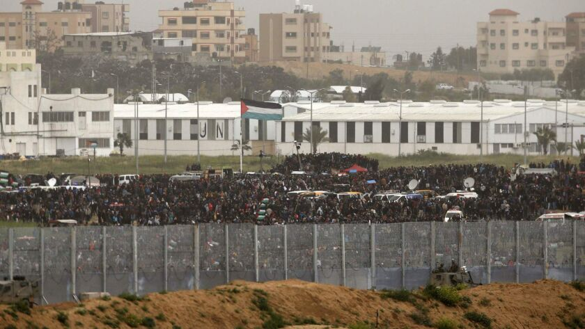 Palestinians demonstrate near the Israeli border March 30, the first anniversary of border protests in the Gaza Strip.