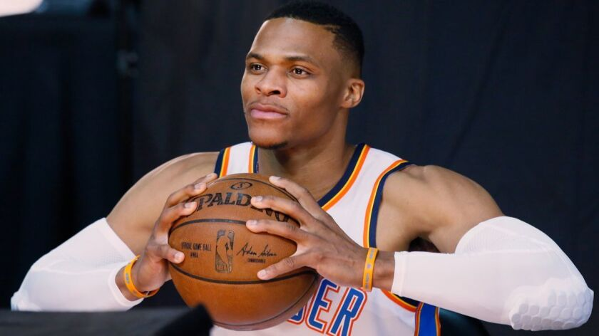 Oklahoma City Thunder guard Russell Westbrook is pictured during media day in Oklahoma City on Monday.