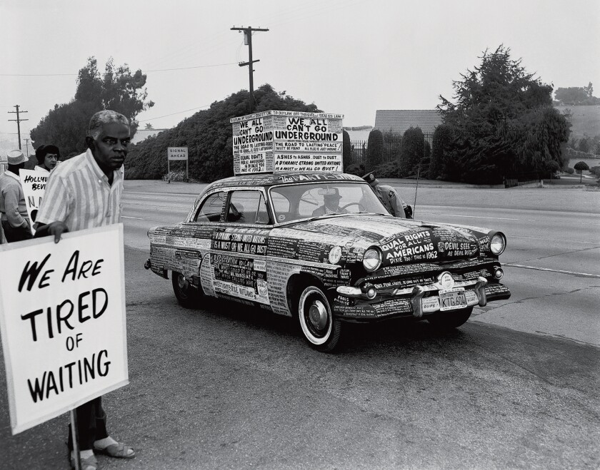 'Protest Car,' Los Angeles,1962; photograph by Harry Adams is part of the San Diego Museum of Art exhibit, 'Black Life: Images of Resistance and Resilience in Southern California.'