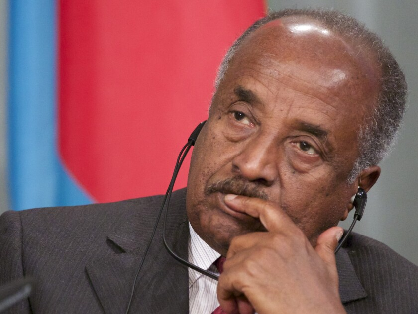 FILE - In this Feb. 17, 2014, file photo, Eritrean Foreign Minister Osman Saleh listens to his Russian counterpart Sergey Lavrov during their news conference in Moscow, Russia. Saleh blamed U.S. administrations that supported the Tigray People's Liberation Movement for the last 20 years for the current war in northern Ethiopia's Tigray region, saying that blaming Eritrea for the fighting was unfounded.(AP Photo/Alexander Zemlianichenko, File)