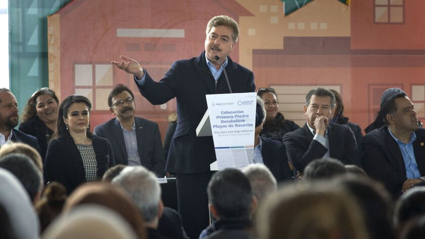 Francisco Vega de la Madrid, governor of Baja California, speaks during a ground breaking event for