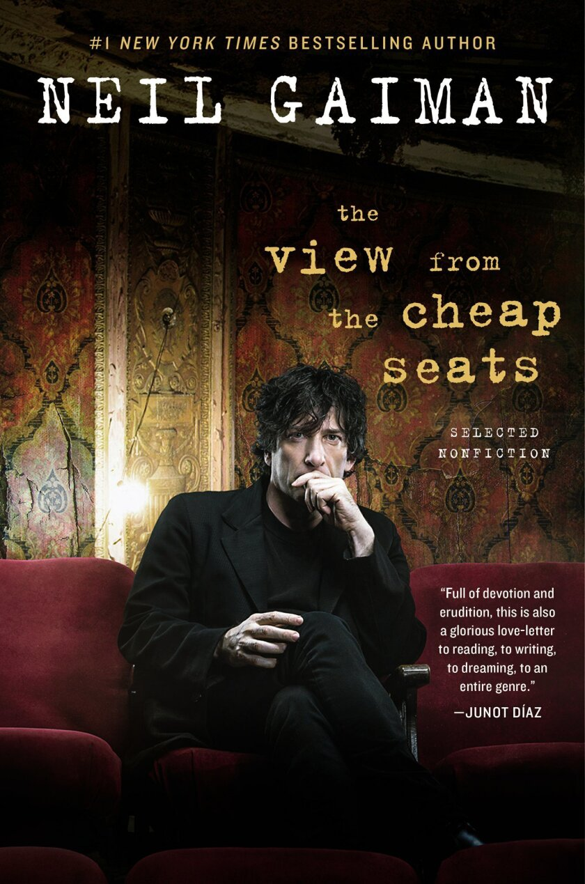 "This book cover image released by William Morrow shows, ""The View From the Cheap Seats,"" by Neil Gaiman. (William Morrow via AP)"