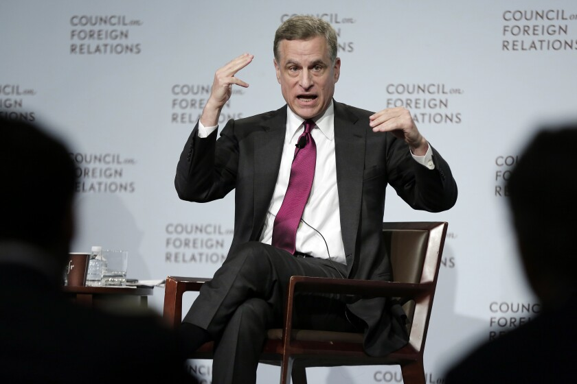 FILE - In this Wednesday, May 31, 2017, file photo, Federal Reserve Bank of Dallas President Robert Kaplan speaks to a breakfast meeting at the Council on Foreign Relations, in New York. On Monday, Sept. 27, 2021, the Dallas Fed announced that Kaplan will step down as president of the Federal Reserve Bank of Dallas in early October. (AP Photo/Richard Drew, File)