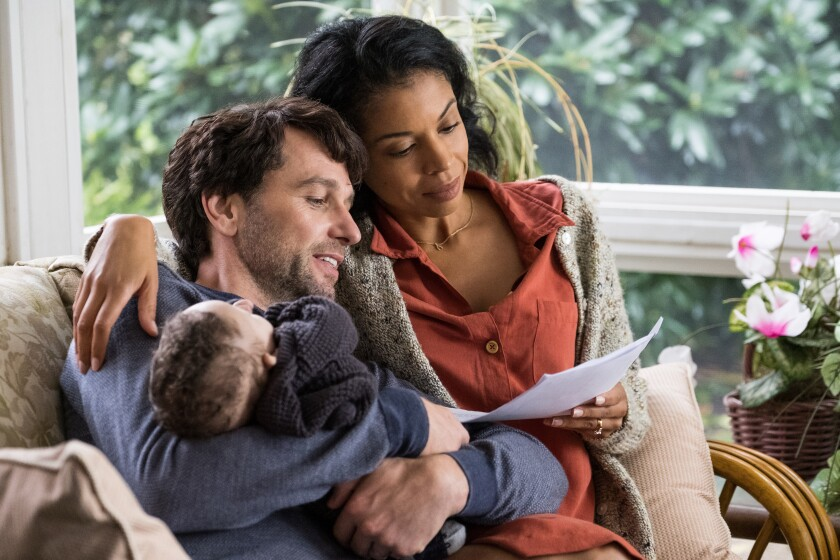 "Matthew Rhys  and Susan Kelechi Watson  in ""A Beautiful Day in the Neighborhood."""
