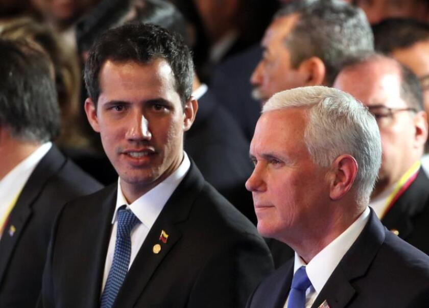 The self-procclaimed interim president of Venezuela, Juan Guaido (l.), and US Vice President Mike Pence (r.) take part in the Lima Group meeting in Bogota on Feb. 25. 2019, where Pence said that whoever threatens Colombia for its defense of Guaido and his claim to be the legitimate president of Venezuela will have Washington to deal with. EFE-EPA/Mauricio Duenas Castaneda