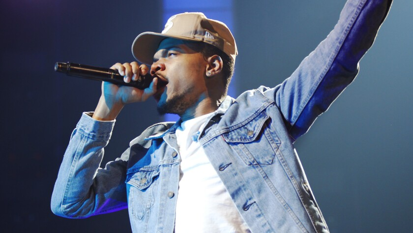 """Chance the Rapper, who released his new album on Friday, will launch his 2019 """"The Big Day"""" tour with three California concerts, He is shown above on April 24, 2017, at the San Diego kick-off of his debut national tour."""
