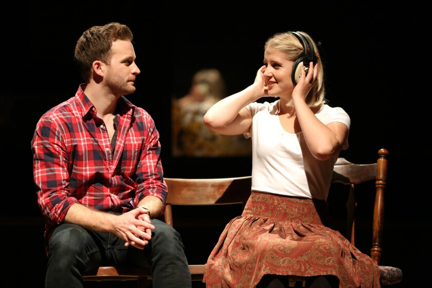 "Guy (Stuart Ward) finds his romantic muse in Girl (Dani de Waal) in the Irish pub musical ""Once."""