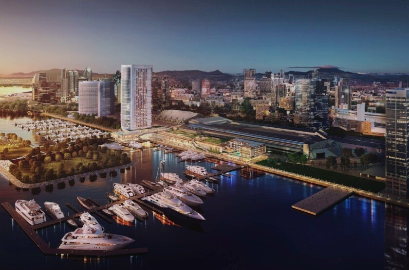 A development team is processing plans for a 44-story hotel on a five-acre site on the bay side of the convention center.
