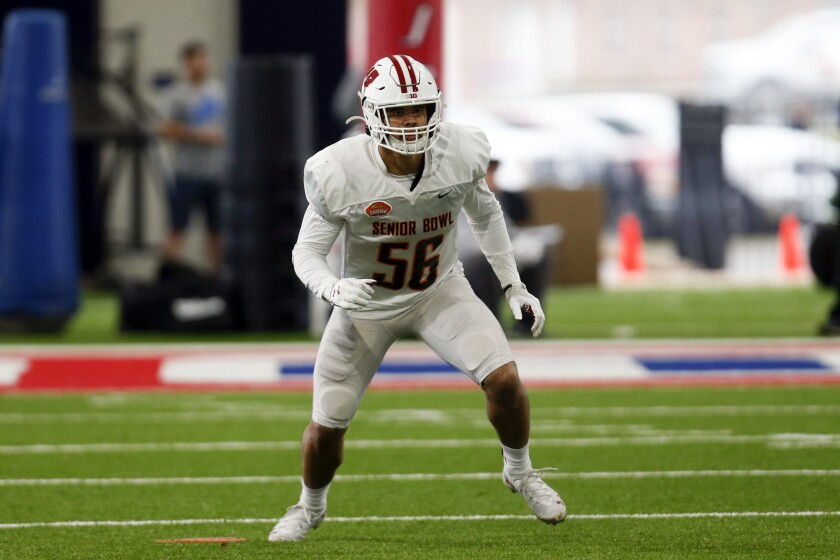 Wisconsin linebacker Zack Baun follows the football during the Senior Bowl in January.