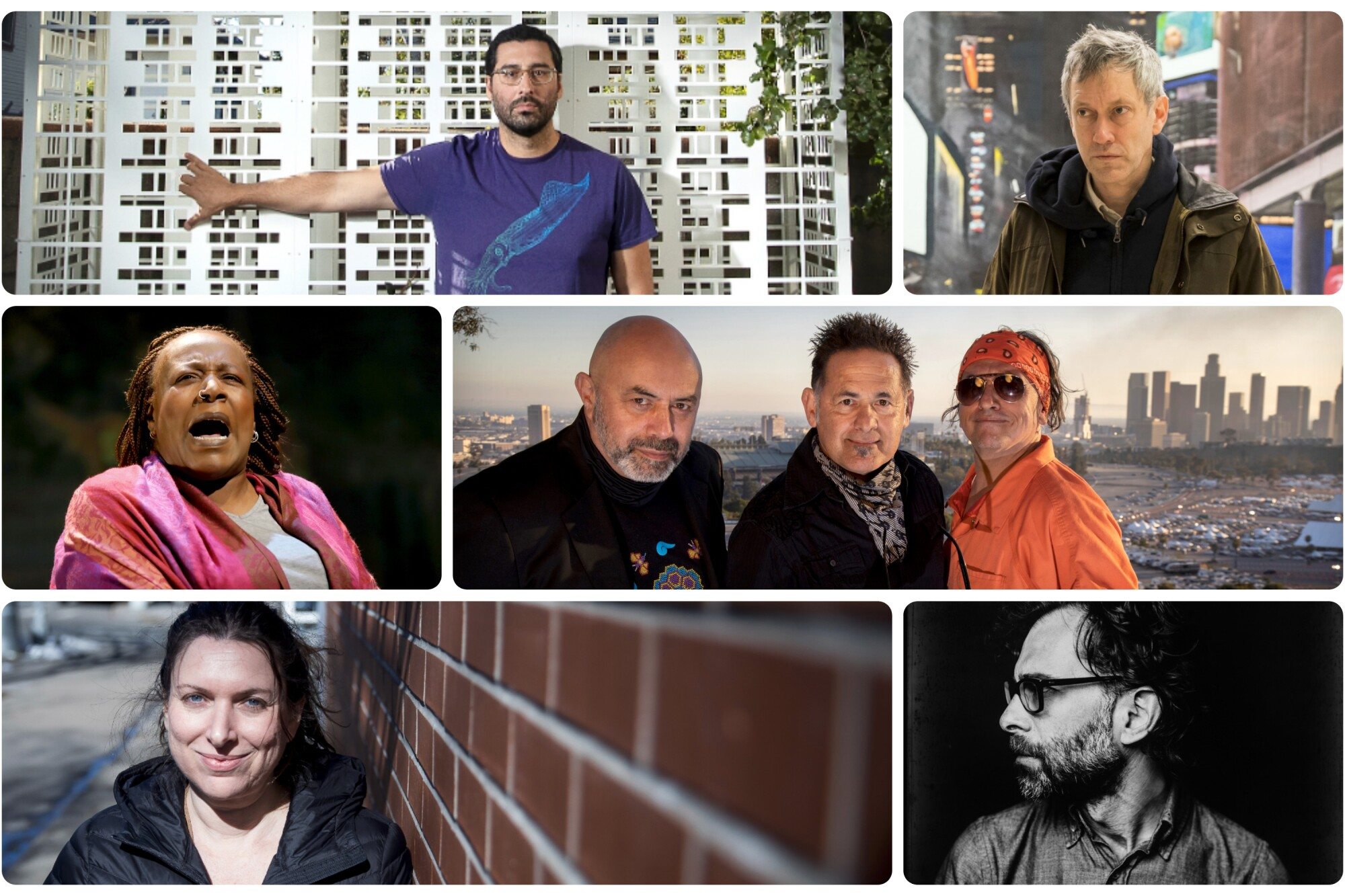 A photo montage of Lars Jan, Richard Maxwell, Culture Clash, Daniel Fish, Annie Dorsen and Dael Orlandersmith.
