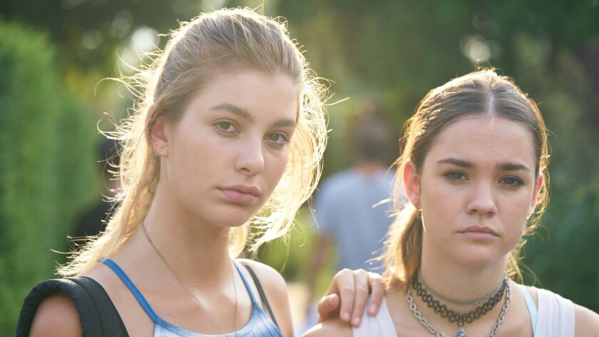 """Camila Morrone, left, and Maia Mitchell in the movie """"Never Goin' Back."""""""