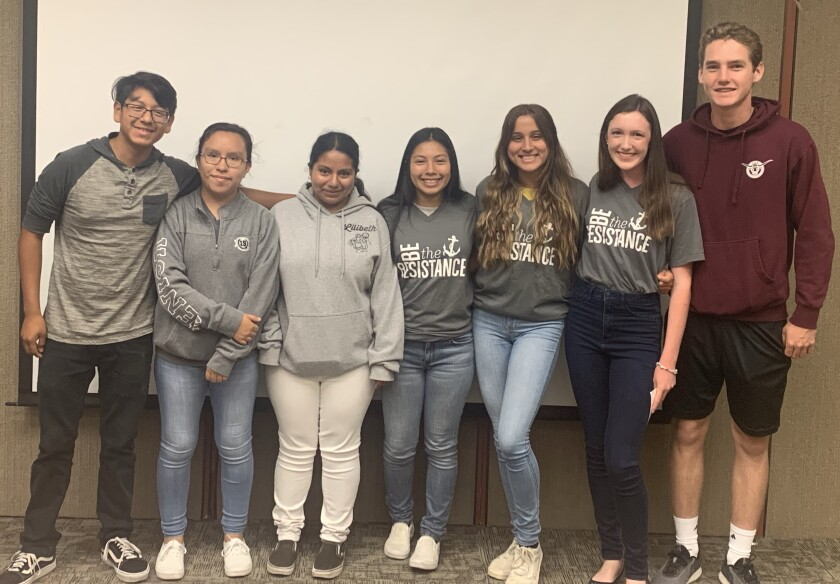 Members of the North Coastal Prevention Youth Coalition recently presented an annual update to adult coalition members at Tri-City Medical Center. Pictured are members Gabriel Dorantes, Jenny Lopez, Lilibeth Leon, Ashley Luis, Anabel Ojeda, Madison Matella and Ian Leary.