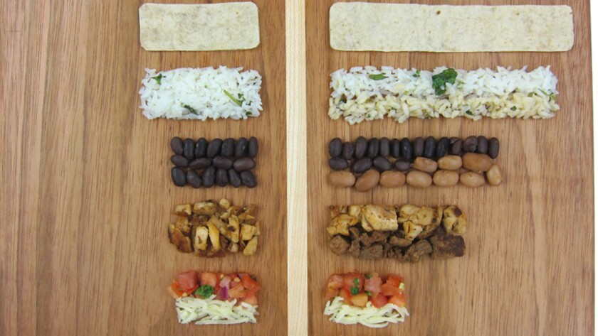 A writer set out to maximize his Chipotle order and came up with six tricks to getting 86% more food, for free. Pictured is his burrito comparison.