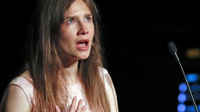 Amanda Knox gets emotional as she speaks at a Criminal Justice Festival at the University of Modena,