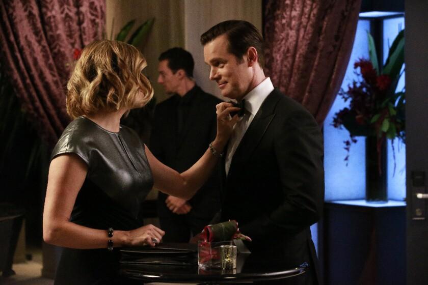 "A tuxedo-wearing scene for Peter Krause, opposite Sonya Walger, on ""The Catch."""