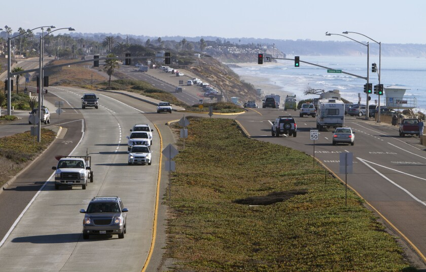 Carlsbad Boulevard, or Highway 101, as viewed from the south side of the Palomar Airport Road bridge in Carlsbad in 2012.