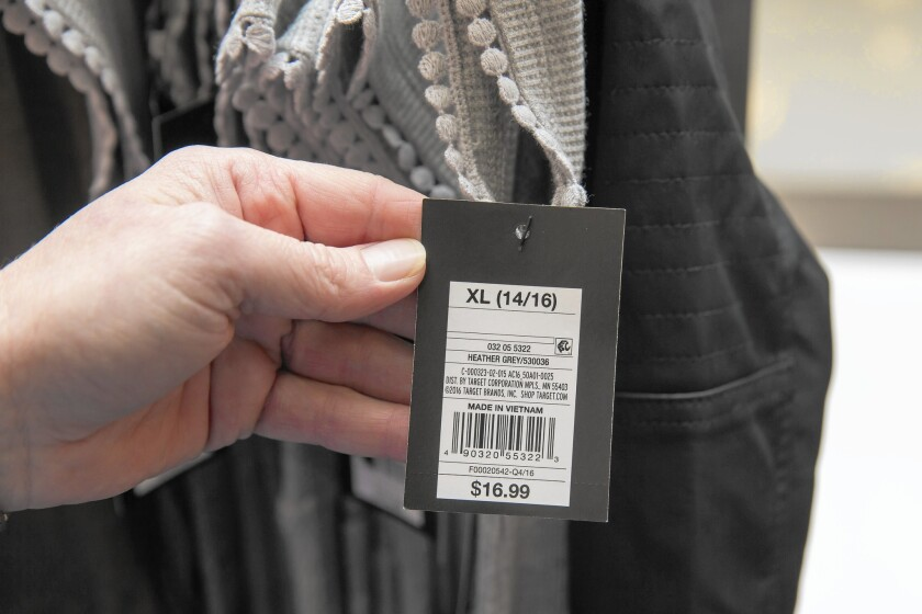 A radio-frequency identification tag is seen Jan. 26, 2017, on girls clothing at a Target store in Oak Lawn. RFID tags help retailers better locate and track items within their inventories.