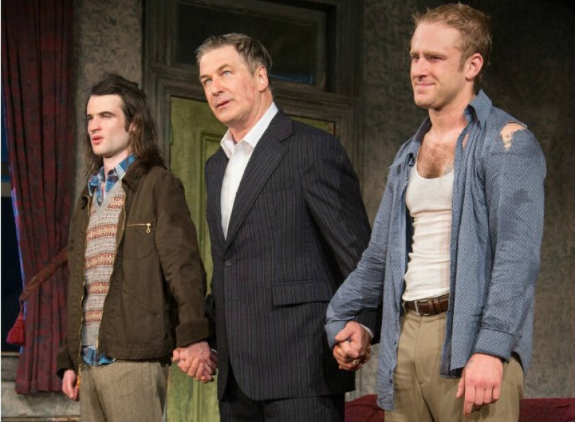 """Tom Sturridge, from left, Alec Baldwin and Ben Foster at a curtain call for """"Orphans"""" on Broadway."""