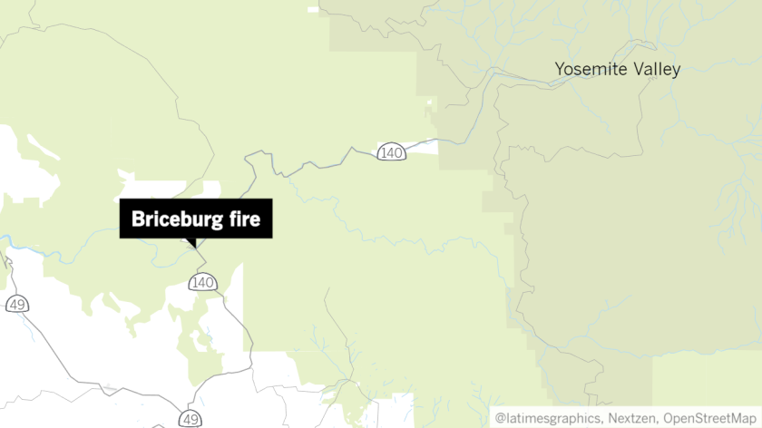 An approximate location of the Briceburg fire, based off information provided by the California Department of Forestry and Fire Protection.