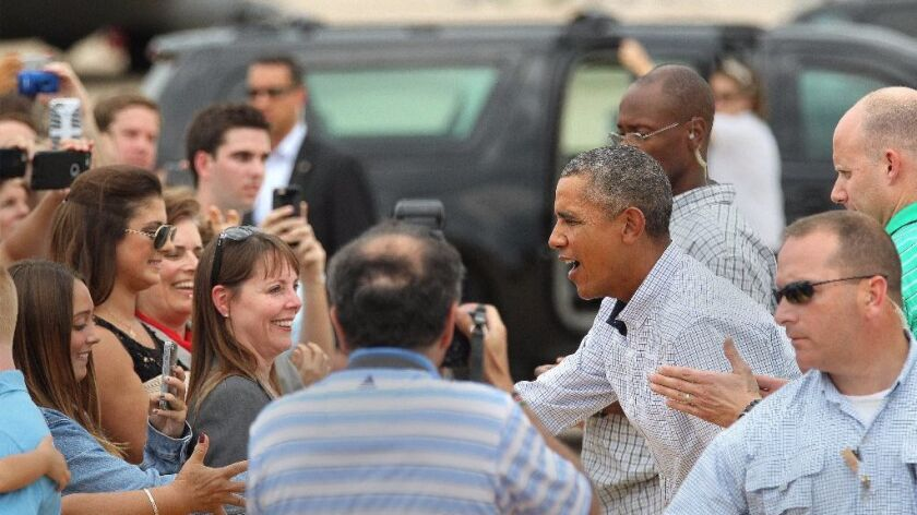 President Barack Obama said goodbye to San Diegans as he left from MCAS Miramar after an R&R visit to San Diego last year on Columbus Day weekend.