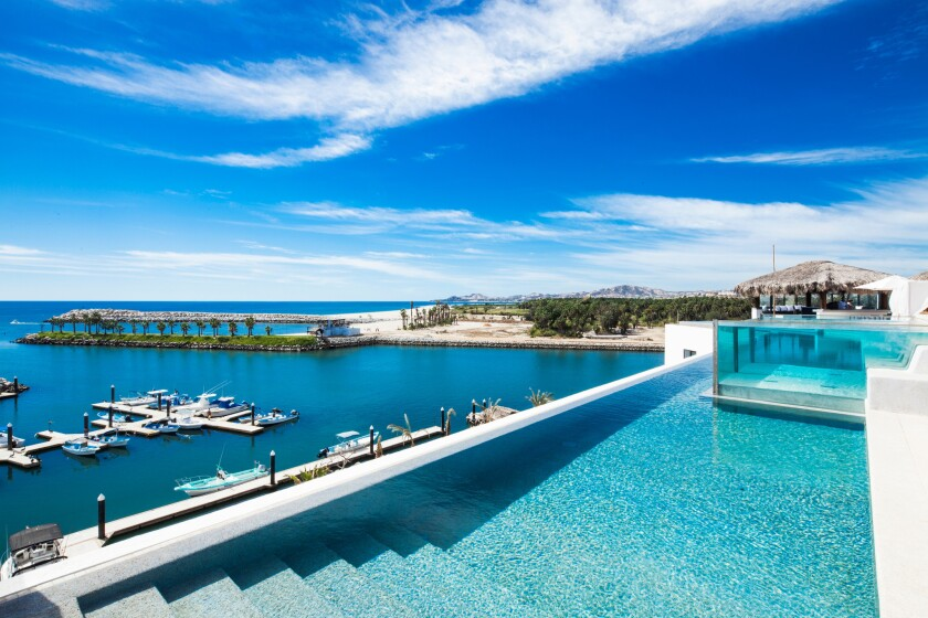 Hotel El Ganzo is a beach-front hotel at the base of the Puerto Los Cabos marina.