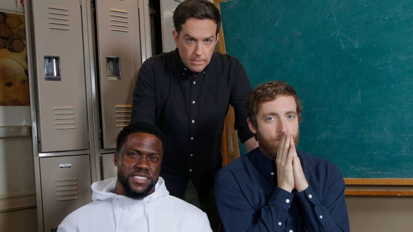 """Kevin Hart, left, Ed Helms and Thomas Middleditch are the key voices in the animated movie """"Captain Underpants: The First Epic Movie."""""""