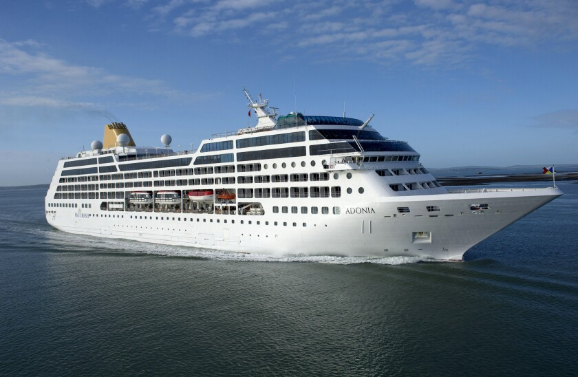 This undated file photo provided by Carnival Corp. shows the 710-passenger Adonia ship. Starting in May, Carnival is offering trips from Miami to Cuba through its new brand, Fathom.