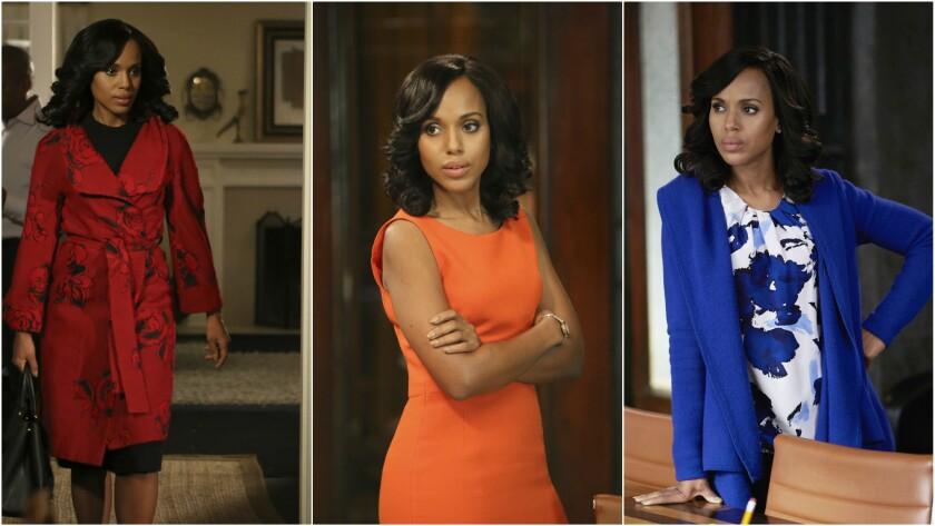 "Kerry Washington's ""Scandal"" character Olivia Pope began adding color to her wardrobe last season af"