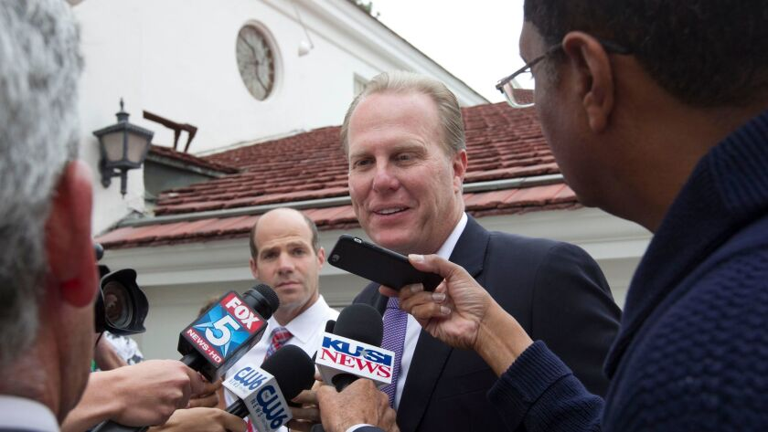 San Diego Mayor Kevin Faulconer interviewed outside his polling place in Point Loma on primary election day, June 7. He was re-elected in a landslide.