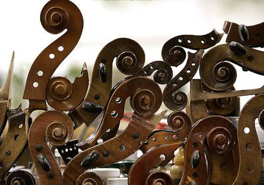Sculpture made of cello scrolls