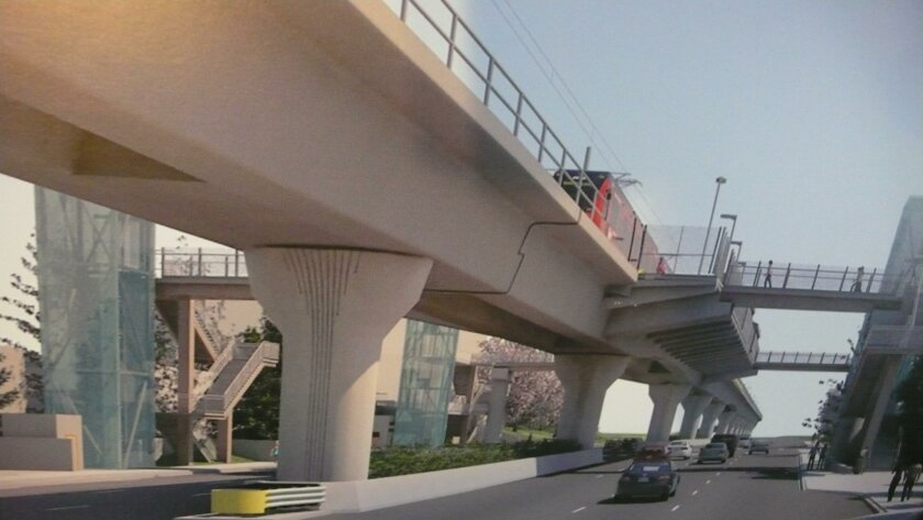 Rendering of the Executive Drive trolley station, coming in the year 2021.