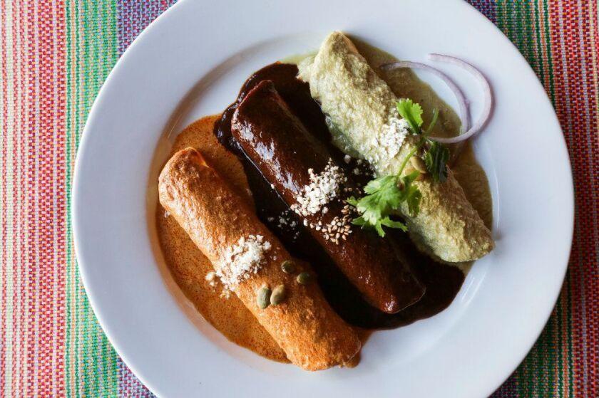 The three enchilada plate at La Casita Mexicana