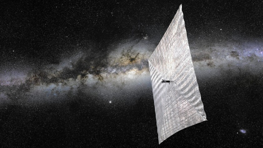 An artist's rendering shows the LightSail solar sailing satellite that is scheduled to ride a SpaceX Falcon Heavy rocket into Earth orbit in 2016.