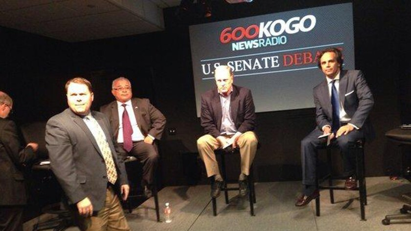 Assemblyman Rocky Chavez, at left, ended his U.S. Senate bid moments into the GOP candidates' debate.