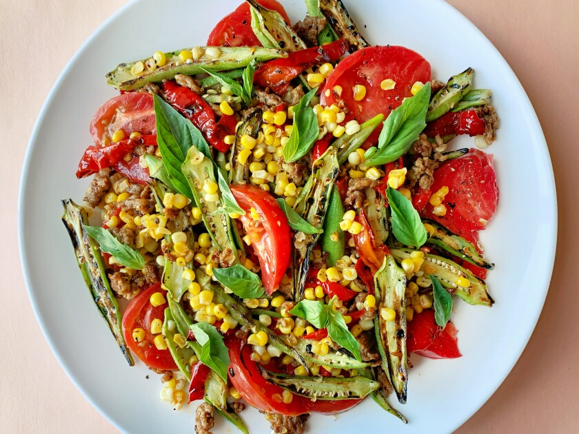 Charred okra, corn and Jimmy Nardello peppers combine in this ode-to-summer dish.
