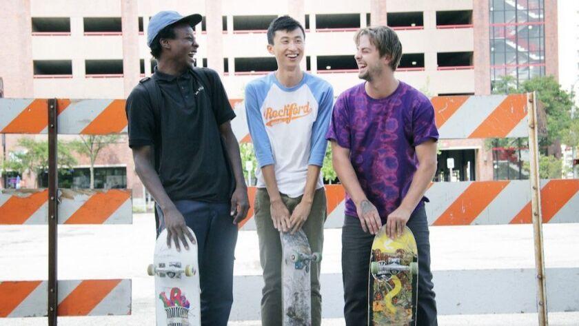 "(L-R) - Keire Johnson Bing Liu and Zack Mulliganon set of ""MINDING THE GAP."" Credit: Hulu"